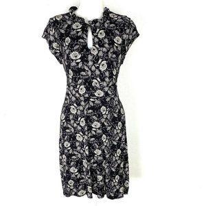 J. Crew Short Sleeve Black Floral Keyhole Dress